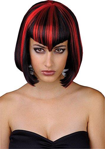 Kurze Schwarz Rote Vamp Vampir Halloween Perücke für Frauen Kostüm Accessoire