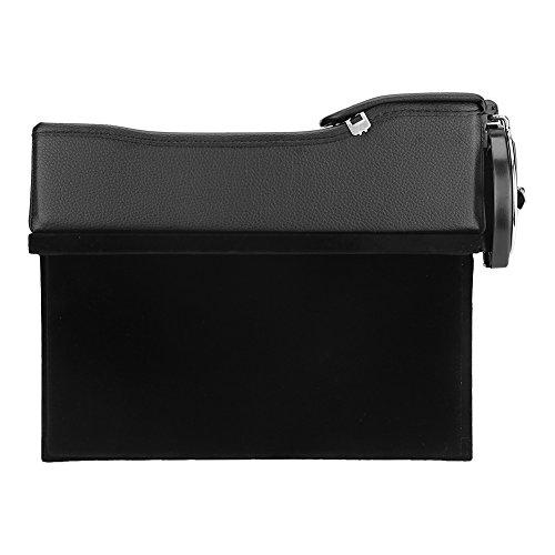 Rosvola Autositz Leder Aufbewahrungsbox, Autositz Side Gap Filler - mit Münzgeld Getränke und Getränkehalter & EIN Geschenk von Autoschlüssel Fall(Copilot schwarz)