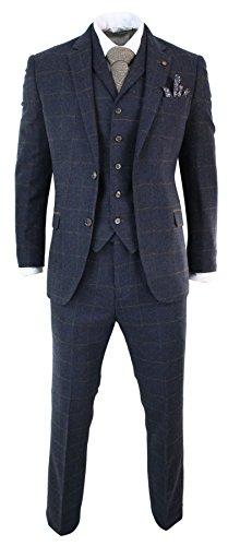 Costume 3 pièces style Peaky Blinders laine tweed carreaux chevrons bleu marine marron homme Cavani