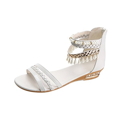 Longra Donna Sandali con pendente in perline di moda Bianca
