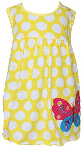 Sommer SALE! Sommerkleid | Shirt-Kleid Pincess Taufkleid Modell 3 gelb gepunktet mit Schmetterling