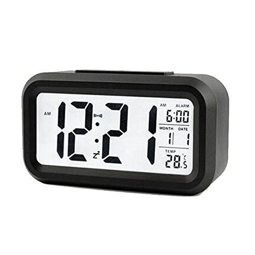 Stonges LED-Anzeige Digital-Wecker mit Sensor-Licht-Datum Temperatur für Home Office, batteriebetrieben (schwarz)