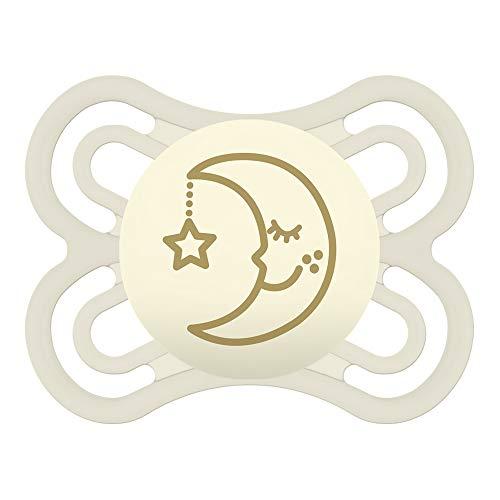 MAM Perfect Night 0-6 Schnuller, beugt Zahnfehlstellungen vor, besonders dünner & flexibler Silikonschnuller, leuchtet im Dunkeln, ab der Geburt, elfenbein (Beruhigungssauger Neugeborene Mädchen)