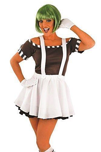 5 stk. Damen Sexy Oompa Loompa Perücke Halloween büchertag Kostüm Kleid Outfit 8-22 Übergröße - Weiß, UK 12-14 (Oompa Loompa Halloween-kostüm)
