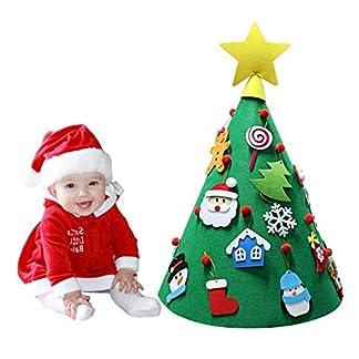 Lomire 3D Árbol de Navidad DIY de Fieltro, Decoración del árbol Redondo de Navidad con 17 Piezas Colgantes Adornos Regalo Original de Navidad Fiesta para Niños
