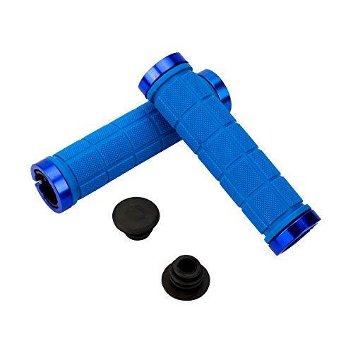 Weiye Lenkstangengriffe mit rutschfesten Gummienden, für MTB, BMX, Downhill, Klapprad, 2 Stück, blau