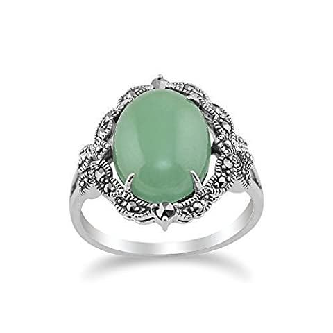 Gemondo 925 Sterling Silver Art Nouveau Vintage Inspired Green Jade & Marcasite Statement Ring