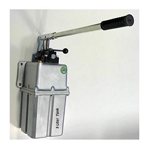 Uzman-Versand 25ccm Hydraulik Handpumpe mit 5 liter Tank doppeltwirkend + Handhebel, Hydraulikpumpe Hydraulische Hand-hebel-Pumpe Manuell Hydraulikhandpumpe (25ccm Pumpe mit 5 liter Tank)