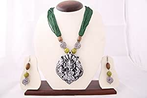 Ancient Goddess Durga IDOL oxidized Temple Jewelery necklace Wedding jewellery set with earrings (green,blue,white)