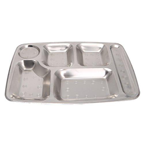 Senoow Edelstahl geteilt Tablett Mittagessen Container Food Plate 4/5/6 Abschnitt für Schulkantine Personal Speisesaal (6 Abschnitte)