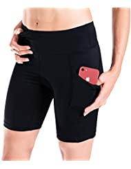 "Yogipace Women's UV Protection 7"" Compression Shorts Bike Shorts Workout Short Gym Shorts Side Pockets"