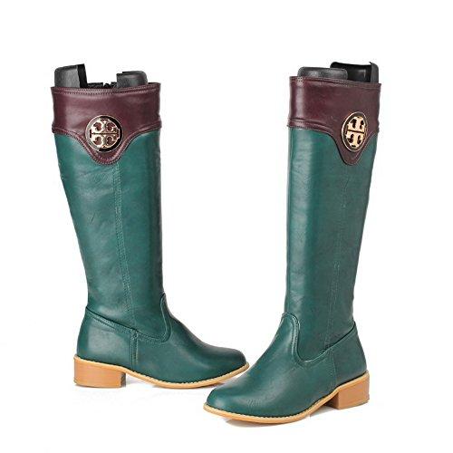 VogueZone009 Damen Hoch-Spitze Gemischte Farbe Niedriger Absatz Stiefel mit Metallisch Grün