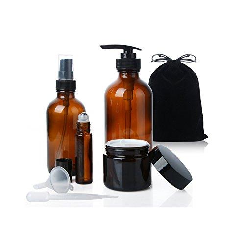 Blanketswarm 4 Stücke Reise Bernstein Braun Glas Sprühen Flasche Kits Nebel Spray Emulsion Auge und Gesicht Creme Nachfüllbarer Behälter - Emulsion Für Das Gesicht
