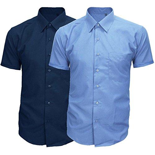 Camicia Uomo Classica Cotone Maniche Corte Basic Casual Colori Vari GIOSAL-Azzurro-XL