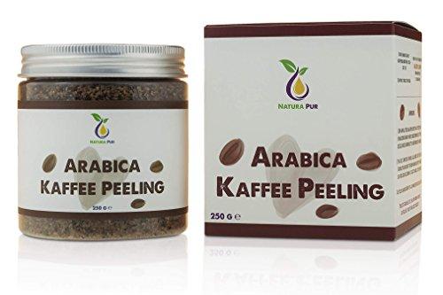 Natura Pur Arabica Kaffee Peeling 250g, vegan - natürliches Body-Scrub Körperpeeling - Anti-Aging Pflege gegen unreine Haut für Gesicht und Körper Himalaya-meer-salz-bio