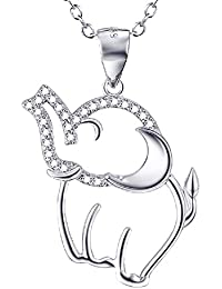 "Mother's Day Gifts Lucky Elephant Animal 925 Sterling Silver Pendant Necklace Happy Every Day 18"" Chain for Women Fashion Jewellery"