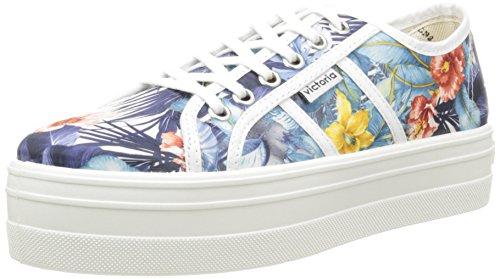 Victoria Basket Flores Y Corazones Plataforma - Zapatillas de deporte Unisex adulto, Blanc (20 Blanco), EU 39