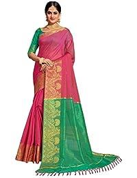 Pisara Women's Banarasi Cotton Silk Saree With Blouse Piece,Light Pink