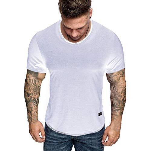 für Männer O Neck Pure Color Splicing Ripped T-Shirt Mode Kurzarm Sommer Basic T-Shirts ()
