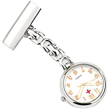 Vintage Retro Creative Brooches Portable Medical Doctor Nurse Fob Watch Clip-on Pendant Hanging Arabic Numerals Round Dial, Silver