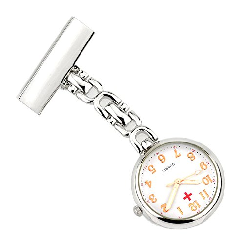 Retro Creativo Broches Portátil Médico Doctor Enfermera Reloj de Bolsillo Colgante con Clip Colgado Escala de Números Arábigos, Plateado
