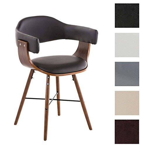 Clp sedia sala da pranzo barrie v2 in similpelle | sedia conferenza in legno con braccioli | sedia riunioni imbottita rétro moderna | sedia soggiorno con schienale e struttura in legno marrone