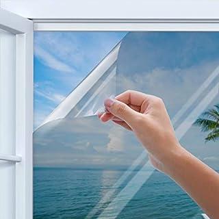 Rhodesy Spiegelfolie Selbstklebend, Homegoo One Way Silber Reflektierende Fensterfolie, UV-Schutz Sonnenschutzfolie Fenster, Sichtschutz Glas-Tönungsaufkleber, 90 x 200 cm (35.4 x78.7 inch)