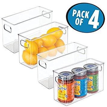 mDesign 4er-Set Aufbewahrungsbox (mittel) - ideal zur Küchen Ablage, im Küchenschrank, Gefrierschrank oder als Kühlschrankbox - BPA-freie Kunststoffbox mit Griffen und stapelbar - durchsichtig