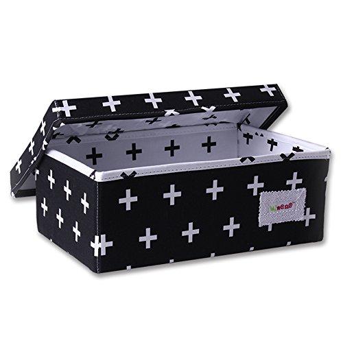 Minene Aufbewahrungsbox (klein, schwarz mit weißem Kreuz)