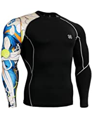 Fixgear Homme Femme Skin Tight Blue Printed Baselayer Running Tee Shirts Black
