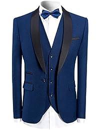f669fa141b3 Sliktaa Homme Costume Élégant 3 Pièces avec Un Bouton Tuxedo Slim Fit  Classique d affaires