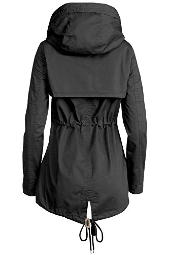 Trisens Damen Jacke ÜBERGANGSJACKE Trenchcoat Kapuze 100% Baumwolle LEICHT KURZ, Farbe:Schwarz, Größe:S - 5