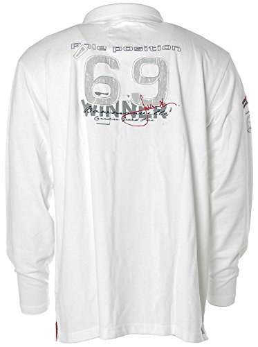 Jacky Ickx Herren Langarm Shirt Poloshirt Polokragen Pikee Pole Position Optical White