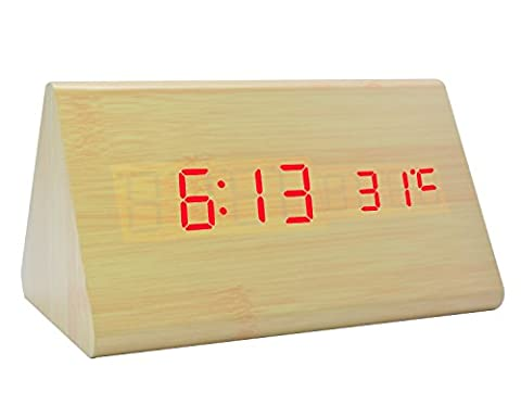 GANGHENGYU Réveil en bois à LED Écran à double écran