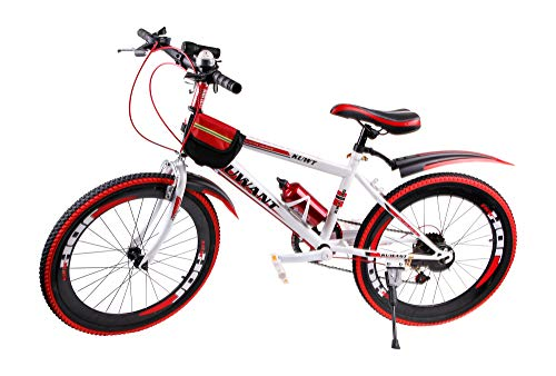Mediablue Kuwant Grün Fahrräder Unisex Jungen Kinderfahrrad Mountain Bike 7-Gang MTB Bike (Rot, 24 Zoll)