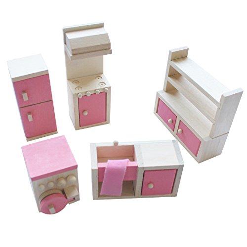 iEFiEL Puppenhaus Möbel Zubehör Holzspielzeug Einrichtung Kleinkind Spielwaren (5tlg Küche Zimmer Set)