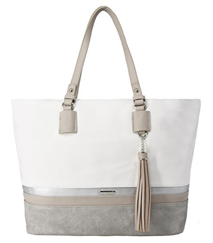 David Jones - Damen Large Size Tote Henkeltasche - Lange Henkel Frauen Schultertasche - Streifen Multicolor Top-Handle Bag - Shopper Aktentasche Schultasche - Waterproof Canvas - Weiß (Tote Weiß-streifen)