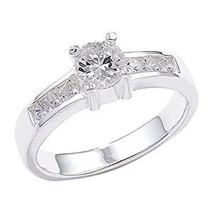 Sterling Silver Shoulder Set Cubic Zirconia Ring - Size R