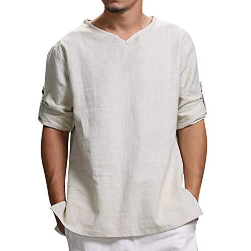 Jiameng top a manica lunga da uomo camicia di lino del cotone di colore solido a maniche lunghe t-shirt v-neck beach camicetta superiore top tinta unita (xxxxl, b bianco)