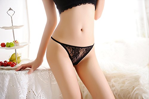 Ksks Women Lace G-String Sexy Low Rise Thongs Soft T-Back Panties 3 Pack,Black - Black Lace Low Rise Thong