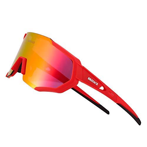 BRZSACR Polarisierte Sport-Sonnenbrille mit austauschbaren Lenes für Männer Frauen Radfahren Laufen Fahren Angeln Golf Baseball Brillen (3-Farben-Wechselobjektiv) (Neues Rot)