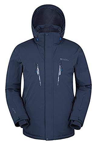 Mountain Warehouse Galactic Extreme Men's Ski Jacket - Waterproof, Taped Seams, Breathable Fabric with RECCO Reflector & Detachable Snow Skirt, Adjustable Hood Navy Large