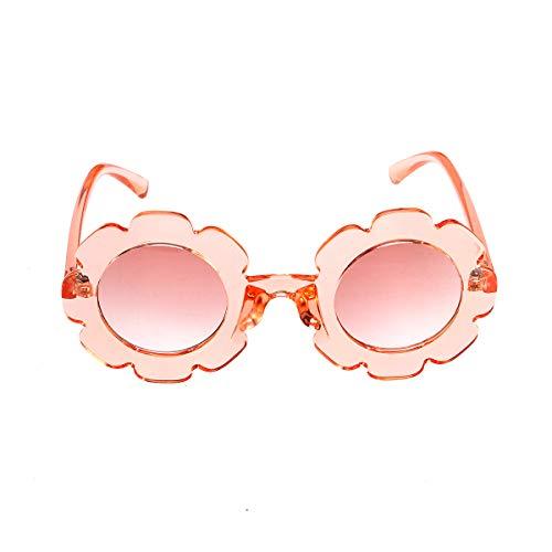 Eghunooye Kinder Baby Blume Rundes Anti-UV Sonnenbrille,Party Fotografie Strand Brillen Sonnenschutz Sunglasses Geschenk für Jungen und Mädchen (Transparent Rosa)