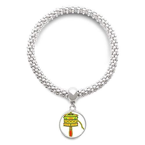 DIYthinker Damen Buddhismus Religion Gebet-Rad Sanskrit Sliver Armband Laufende hängende Schmuckkette
