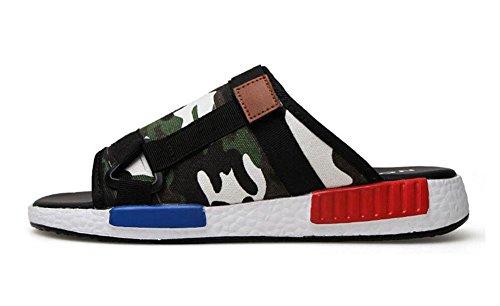 Männer Slip On Sandalen Sommer Pantoffeln Freizeitschuhe Breathable Canvas Hausschuhe Ein Pedal Loafers Schuhe Camo