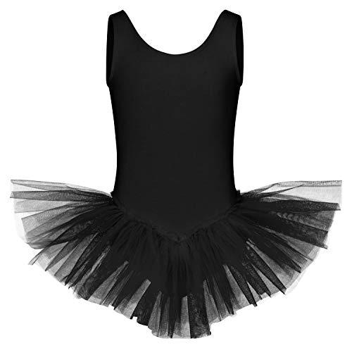 tanzmuster Kinder Ballett Tutu Anabelle aus Baumwolle mit Breiten Trägern und Tüllrock in schwarz, Größe:140/146
