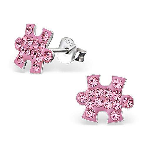 So Chic Joyas© pendientes niño pieza Puzzle pedrería cristal rosa plata 925