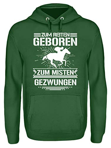 Pferde Shirt · Geschenkidee für Pferde/Reitsport Fans · Pferd Motiv/Spruch Unisex Kapuzenpullover Hoodie -M-Dunkelgrün