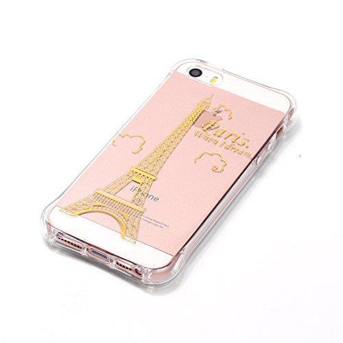 Beiuns pour Apple iPhone 5 5G 5S / iPhone SE (4 pouces) Coque en Silicone TPU Housse Coque - YY518 Petit éléphant YY523 La tour eiffel