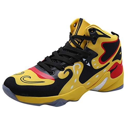 Fitnessschuhe rutschfeste Basketballschuhe Abnutzung Sportschuhe Chinesischen Sneaker Herren Lauftraining Beschuht Turnschuhe Basketball Schuhe, Gelb